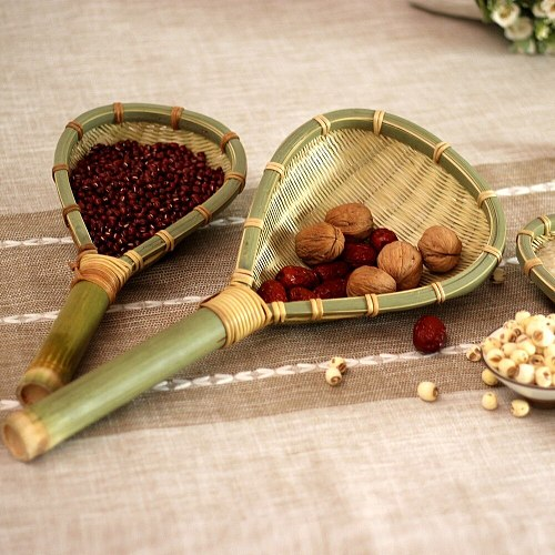 Bamboo products kitchen supplies handmade bamboo braided rice colander soup spoon noodles household drain spoon WF1020