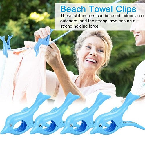 Beach Towel Clips Plastic Quilt Clips Clamp Holder Sunbed Pegs Laundry Pegs Windproof Clothes Clips Dolphin 4Pcs