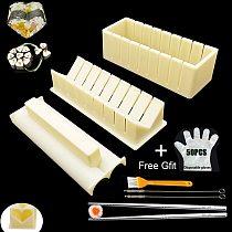 3pcs Sushi Maker Rice Mold Japanese Multifunctional Mould Making Sushi Tools With Gloves,Brush, Chopsticks