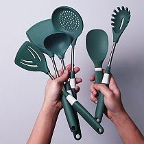 6Pcs Cooking Tools Set Premium Silicone 304 Stainless Steel Kitchen Utensils Set Turner Soup Ladle Rice Spoon Cookware