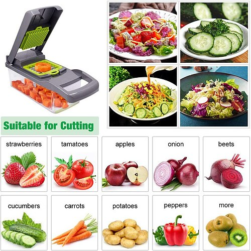 7 In1  Vegetable Cutter Grater Slicer Carrot Potato Peeler Cheese Onion Steel Blade Mandoline Kitchen Accessories Fruit Tools