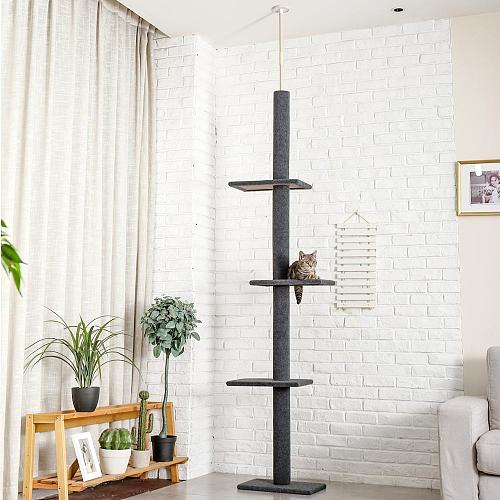 H228-274cm Domestic Delivery Pet Cat Tree Scratcher Post Adjustable Scratching Climbing Tree Cat Toy Super High Cat Jumping Toys