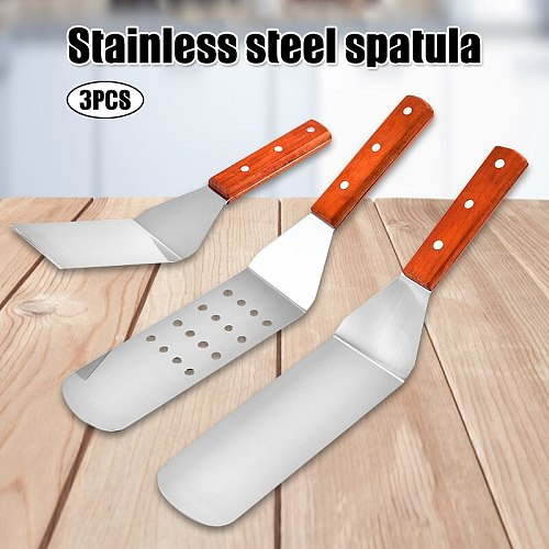 3Pcs Set Stainless Steel Kitchen Utensils Sets Spatula Slotted Spoon With Wood Handle Baking Cooking Kitchen Tools Cocina