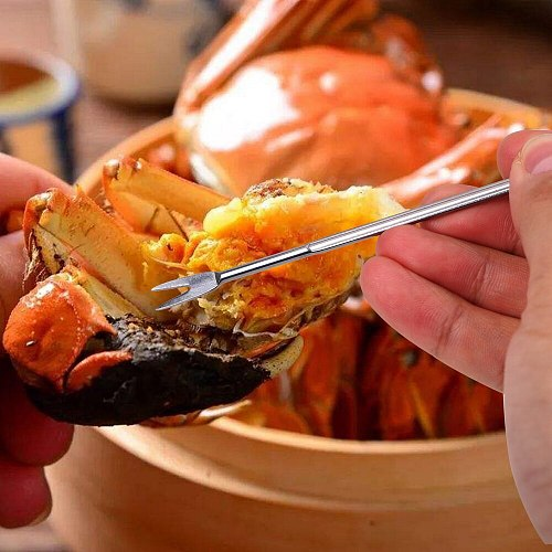 Stainless Steel Mini Crowbar Lobster Crab Needle Fork Claws Sheller Gadgets Walnut Fruit Fork Mulitfunction Seafood Tools