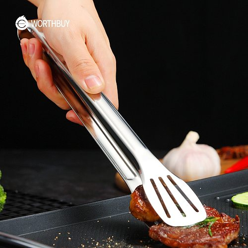 WORTHBUY Non-Slip Stainless Steel Food Tongs Meat Salad Bread Serving Tongs For Barbecue Kitchen Accessories Cooking Utensils