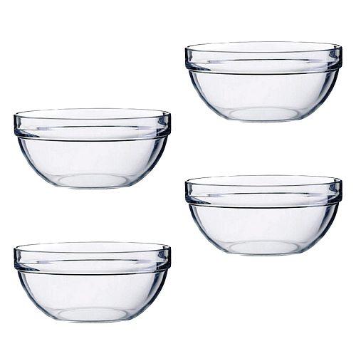 4pcs/lot Salad Bowl Acrylic Thicken Transparent Round Bowl for Serving Fruit Vegetable Snack (14x6cm)