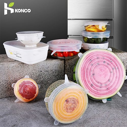 6 Pcs/Set Silicone Stretch Lid,Reusable Cover for Cookware Bowl Food Cap ,For kitchen accessories