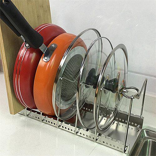 HOT Pot Lid Rack Pan&Cutting Board Holder Stand Kitchen Organizer Dual Racks Chopping Board Shelf Stainless Steel Shelf Pan Rack