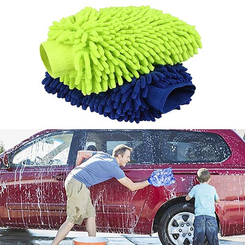 2pcs Microfiber Chenille Car Wash Mitt Glove Blue Green Colors Available Now Car Cleaning Pad Cleaning Brush Car Motorcycle#N