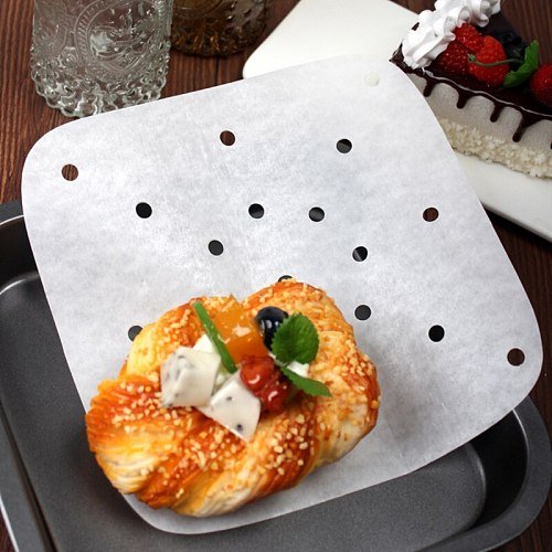 100pcs / Pack Air Fryer Pad Parchment Square Paper Baking Accessories Oven Round Oil Absorption Kitchen Airfryer Paper
