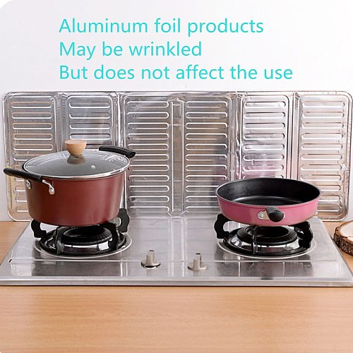Frying Pan Oil Splash Protection Screen Aluminum Foldable Kitchen Gas Stove Baffle Plate Kitchen Insulation Kitchen Accessories