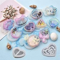 Shaker Silicone Mold Resin Heart Star Moon Ice Cream UV Epoxy Resin Molds Key Chain Pendant Craft Jewelry Making Tools