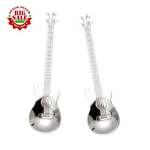 4 Pcs Guitar Coffee Teaspoons Stainless Steel Musical Coffee Spoons Teaspoons Mixing Spoons Sugar Spoon(Silver) drop shipping