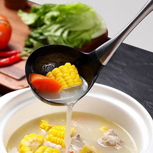 Nonstick Silicone Spatula Turner Soup Ladle Stainless Steel Handle Silicone Cook Turner Large Soup Spoon Scoop Cooking Utensils