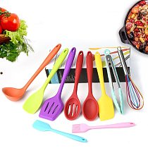 Colorful Silicone Cooking Utensils Set Non-stick Spatula Spoon Oil Brush Turner Food Tongs Cooking Tools Set Kitchen Accessories
