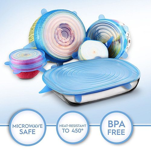 3/6/12PCS Silicone Stretch Lids Universal Silicone Food Wrap Bowl Pot Lid Reusable Silicone Cover Lids Dropshipping