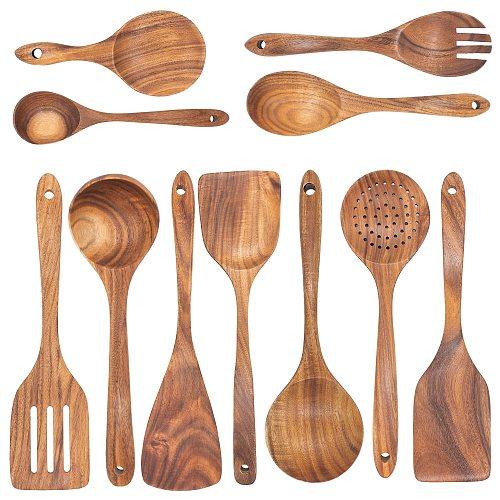 Wooden Kitchen Utensils Set Cooking Spatula Tools Kit Healthy Turners Spoon Baking Eco-friendly ustensile de cuisine bois