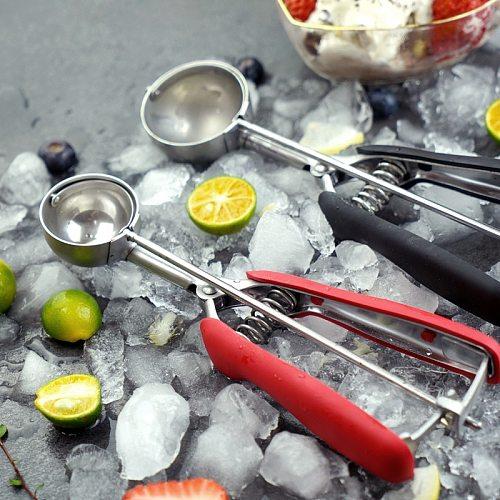 Ice Cream Scoop Stainless Steel Ice Cream Spoon Watermelon Baller Scoop Fruit Dessert Spoon Ice Cream Ball Maker Kitchen Tools