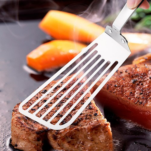 Handle Hollow Stainless Steel Slotted Frying Fish Spatula Steak Shovel Kitchen Cooking Tool