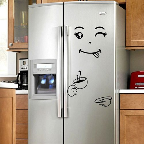 1sheet  Kitchen Accessories Creative Kitchen Cartoon Fridge Sticker Smiley Refrigerator Sticker Kitchen Gadgets-S