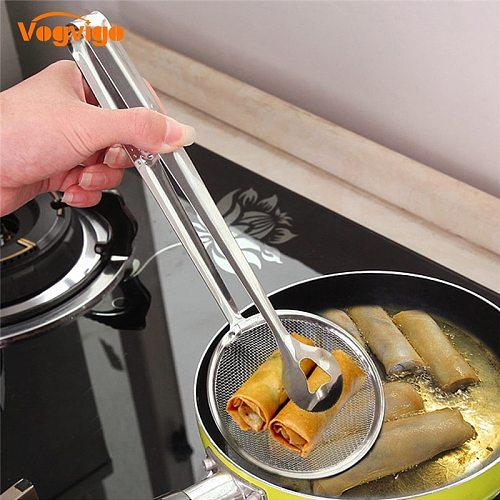 VOGVIGO Stainless Steel Food Clip Snack Fryer Strainer Fried Tong Mesh Oil Strainer Colander Filter Oil Kitchen Cooking Tools