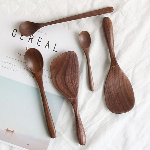 Black Walnut Coffee Honey Spoons Wooden Japanese Style Stir Long Scoop Large Soup Rice Spoon Kitchen Tableware Supplies Gifts