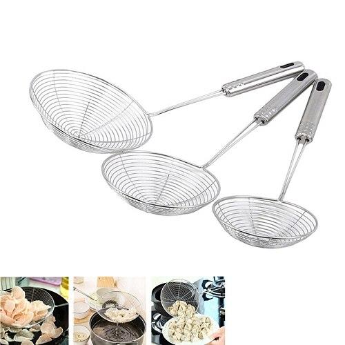 Oval Skimmer Stainless Steel Filter Oil Pot Food Filter Cookware Colander Fried Filter Kitchen Strainer Baking Cooking Tools