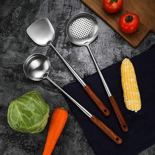 3Pcs Wok Spatula Spoon Skimmer Ladle Set Durable Stainless Steel Cooking Utensil