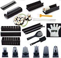 CN IYouNice 11Pcs/Set Sushi Maker Equipment Kit,Japanese Rice Ball Cake Roll Mold Sushi Multifunctional Mould Making Sushi Tools