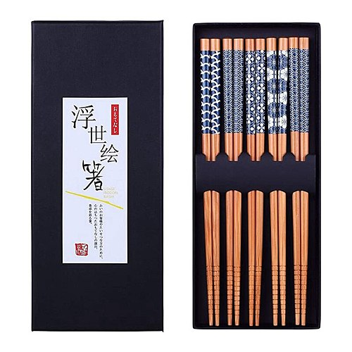 5 Pairs Natural Bamboo Chopsticks Reusable Classic Japanese Style Chop Sticks Gift Sets, Dishwasher Safe, 8.8 Inch