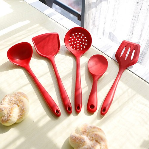 1Pc Silicone Kitchenware Tableware Classic Cooking Tools Kitchen Cooking Utensils Non-stick Soup Spoon Colander Cooking Shovel