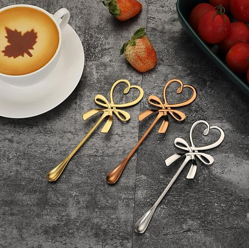 Tea Coffee Mixing Spoon Mini Heart LOVE Crown Spoon Long Handle Flatware Coffee Drink Tool Kitchen Gadget Valentine's Day Gift