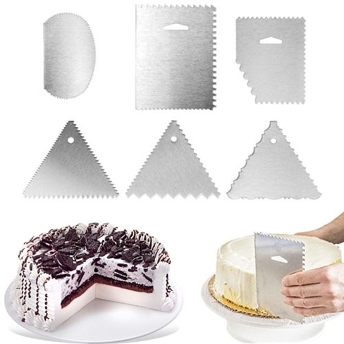 1Pc Stainless Steel Cream Scraper Geometry Irregular Teeth Edge Spatulas Pastry Dough Cutters DIY Cake Decorating Tools