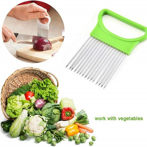 1PC Stainless Steel Onion Cutter Needle Tomato Vegetables Fruit Slicer Knife Cutting Safe Aid Tool Creative Kitchen Accessories