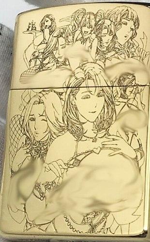 SCH Five-sided brass mirror carved beautiful girl lesbian  kerosene lighter
