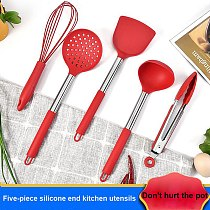 5Pcs Silicone Kitchen Utensils Set Non-stick Kitchenware Cooking Tools Spoon Spatula Ladle Egg Beaters Tools Metal Handle