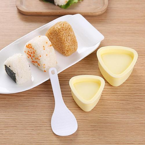 Portable Triangle Rice Ball Mold with Spoon Press Sushi Maker Kitchen Tools Rice to a More Uniform and Delicate Sushi