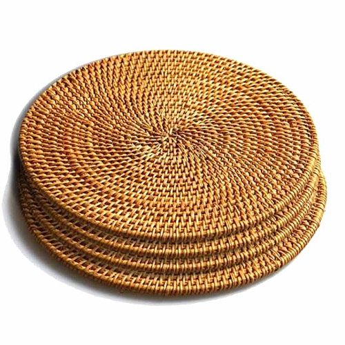 4 Pcs Rattan Trivets for Hot Dishes-Insulated Hot Pads,Durable Pot Holder for Table,Heat Resistant Mats for Kitchen