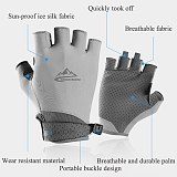 Elastic Men Fingerless Gloves Riding Golf Summer Gloves Anti-UV Sun Protection Sweat-absorbent Breathable Ice Silk Thin Gloves