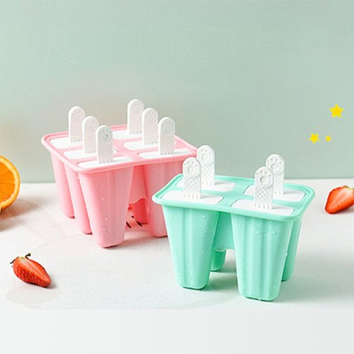 1PC Ice Cream Mold 4 Cell Silicone Ice Cream Mold Popsicle Molds DIY Homemade Dessert Freezer Fruit Juice Ice Mould with Sticks