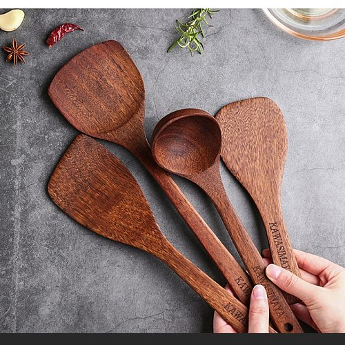 Non-Stick Special Wooden Spatula Heat-Resistant Big Soup Spoon Kitchenware Cooking Stuff Utensils for Kitchen Gadget Accessories