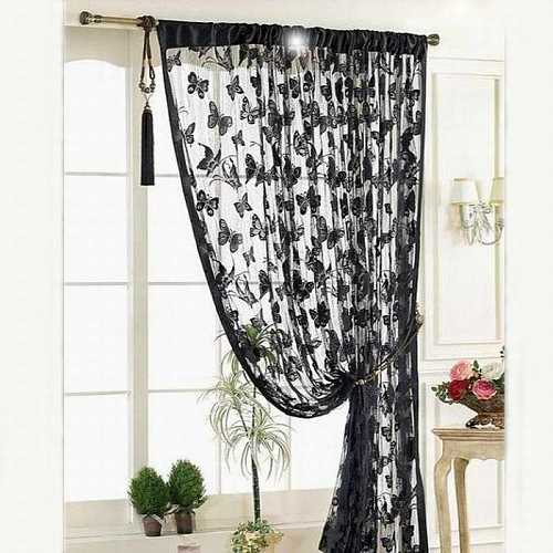 Door Curtain Window Room Black Lace Curtains Divider Striped Tassel Butterfly Pattern Print Sheer Curtains 100*200cm Black