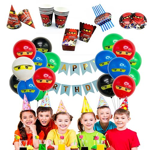 Ninja Cartoon Disposable Tablewares Cups/blowouts/cake Toppers/wrappers/hat for Boy Theme Birthday Party Supplies