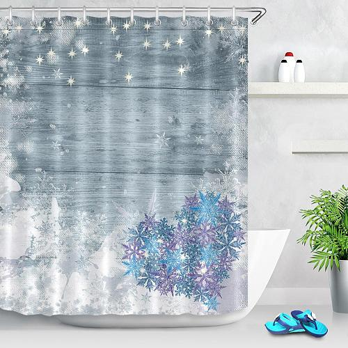 Heart Snowflake Valentine's Day Shower Curtains for Bathroom Wood Board Printing Waterproof Fabric Polyester Bath Curtains