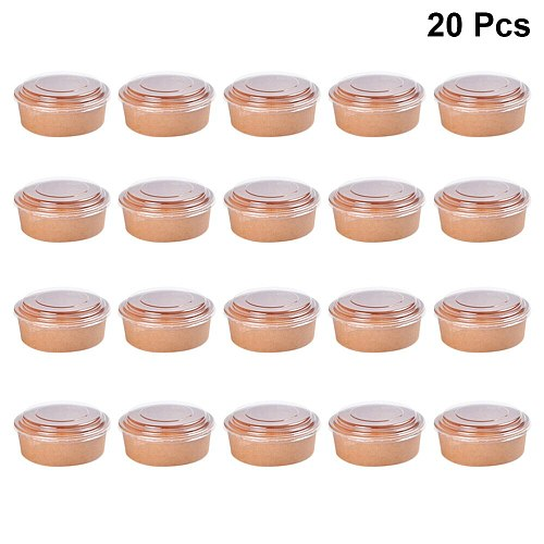 20pcs Disposable Kraft Paper Bowls Fruit Salad Bowl Food Packaging Containers Party Favor (16oz, with Lid)