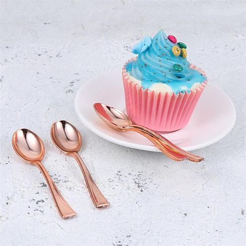 24Pcs Mini Spoons Plastic Cake Spoons Disposable Dessert Spoons Ice-cream Spoons for Home Shop Party Rose Gold