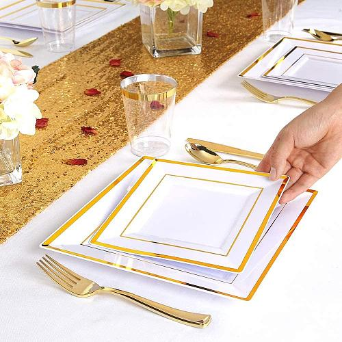 25 Guest Gold Plastic Plates with Disposable Plastic Silverware- Gold Rim Square Dinnerware Set(125pcs)