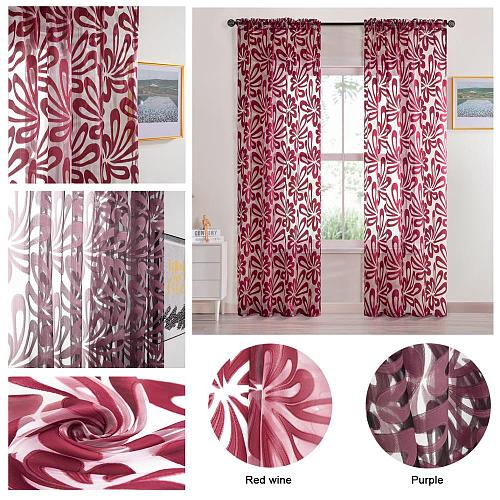 Tulle  Curtain  Voile Window Treatments Draperies Geometric Flowers Modern Window Sheer Curtain for Living Room Bedroom Kitchen