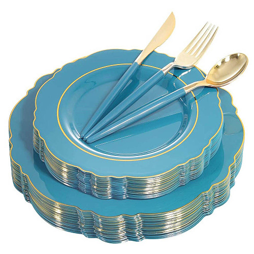 Disposable Cutlery Set Blue Pink Plastic Tray With Golden Border and Golden Disposable Silverware Wedding Party Supplies