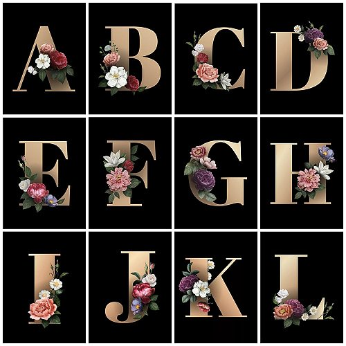 HUACAN DIY Diamond Painting Text Mosaic Letter 5d Diamond Embroidery Cross Stitch Flower Word Home Decor Craft Kit